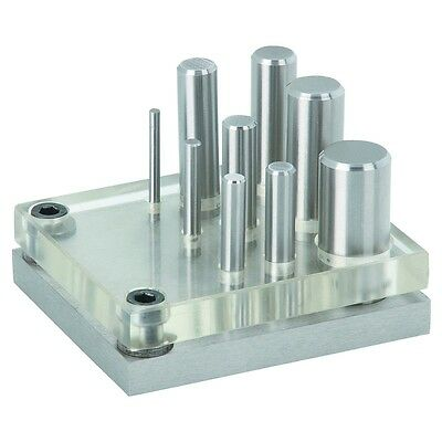 Hardened Alloy Steel 9 Piece Punch and Die Set w/ Clear Plate for Easy Alignment