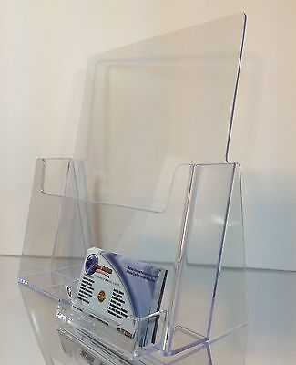 10  Full Page Brochure Holders 8.5 x 11 with business card holder