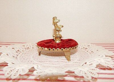 Vintage Poodle Ring/jewelry Holder~Gold Plate~Red Velvet Tray Stand~Vanity Must
