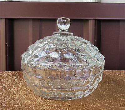 """Fostoria American Clear Round Candy Dish Bowl with Lid 5 1/4"""""""