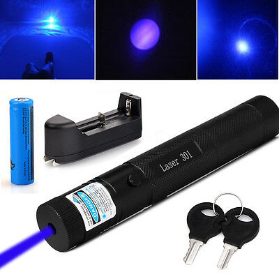 Powerful Blue Laser Pointer Pen Beam Light 5mW Lazer Power 405nm+18650+Charger