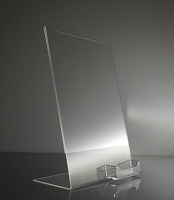 6 Clear Acrylic 8.5x11 display sign holder w  business card holder wholesale lot