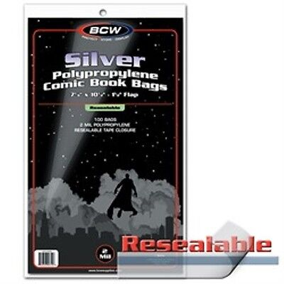 Comic Bags Silver Size Resealable 100 Count Pack [NEW] Clear Poly Case BCW