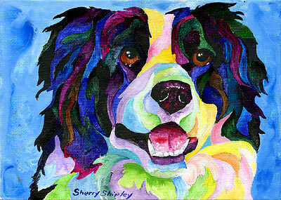 Border Collie Original 5x7 Acrylic Framed DOG Painting by Sherry
