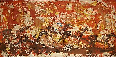Mcm Magnus Engstrom Oil Painting Art Horse Race From The Gate Thoroughbred Vtg