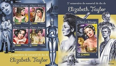 Z08 IMPERFORATED ST16115ab Sao Tome and Principe 2016 Elizabeth Taylor MNH Set