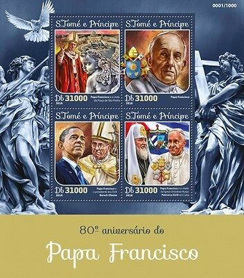 Z08 IMPERFORATED ST16116a Sao Tome and Principe 2016 Pope Francis MNH