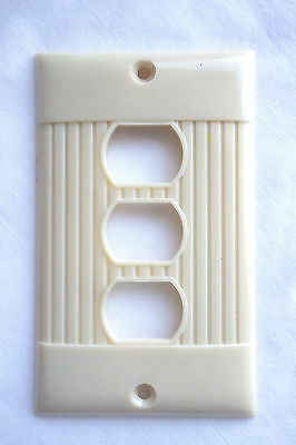 Vintage McDonalds Triplex Outlet Wall Cover Plate Ribbed Ivory NOS