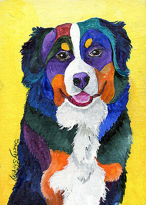 BERNESE MOUNTAIN DOG Original 5x7 Acrylic Framed DOG Painting by Sherry