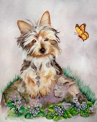 SILKY TERRIER & BUTTERFLY Original 12x16 Acrylic  DOG Art by Sherry