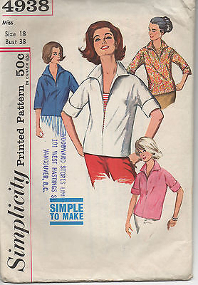 Simplicity Printed Pattern 4938 Pull Over Sz 18 Bust 38 Factory Folded Pre Cut