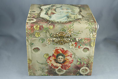 Victorian Celluloid Collar Box Collar and Cuff Floral Portrait Satin Lined Pink