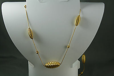 Anne Klein Wheat Necklace Gold Tone Signed 36""