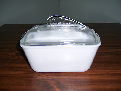 Vintage Glasbake Loaf / Bread Dish - White - Clear Glass Lid / Tab Handle