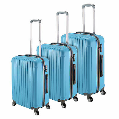 "Sky Blue 20""- 28"" Luggage 4 Wheel Spinner Suitcase ABS Trolley Case Travel Bags"