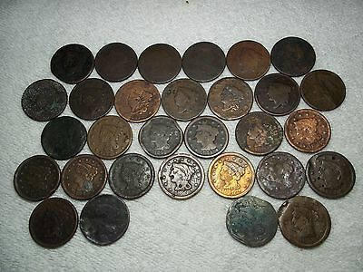 1819 - 1853 Large Cents  lot of 30 coins partial date well circulated #3.120.84