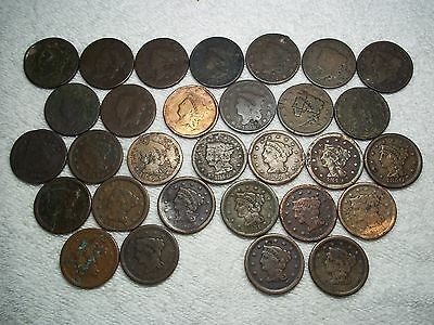 1816 - 1855 Large Cents  lot of 30 coins partial date well circulated #5.148.100
