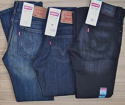 Levi's 520 Boys Taper Leg Below Waist Slouched Fit Denim Jeans Sz 8-20 List $48