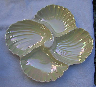 Stunning Vintage Royal Winton Lustre Glazed Shell Shaped Divided Serving Dish