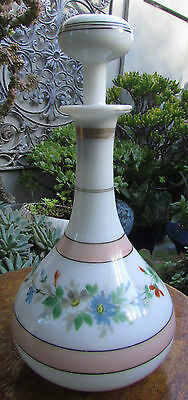 Stunning Victorian Hand Painted Milk Glass Decanter