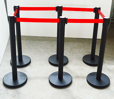 New 6 Red Belt Stanchion Posts Queue Pole Retractable Crowd Control Barrier