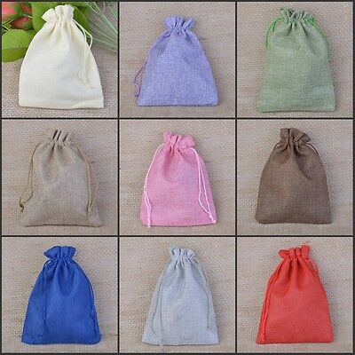 Burlap Hessian Jute Bags Drawstring Gift Favour Wedding Pouch Accessories Packs