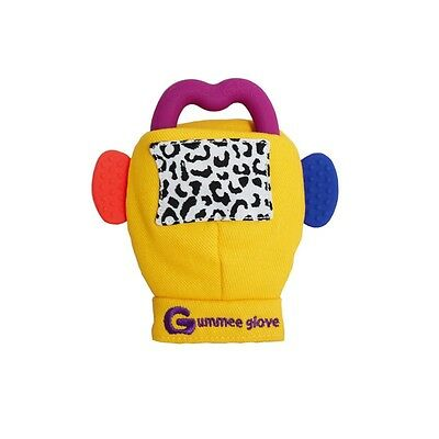 Gummee Glove YELLOW  Baby Teething Mitten Silicone Shaped Teether Ring Toy