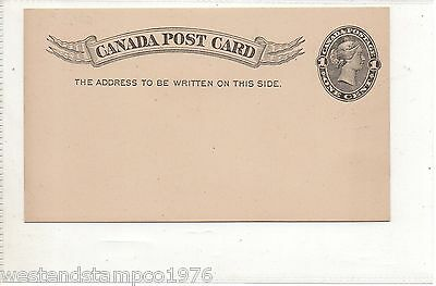 Canada Postcard Qv Black One Cent. Excellent Condition