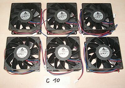 Lot of 6 Delta FFB0948SHE Fan 48VDC 0.30A 92x92x38mm, with connector