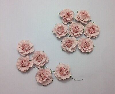 Light Pink Mulberry Paper Roses 35mm Beautiful Wedding Flowers Craft Decorations