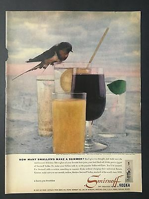 1956 Vintage Ad for Smirnoff Vodka with swallow