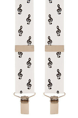 Treble Clef Music White Black Trouser Braces Suspenders