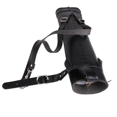 Black Pu Leather Traditional Archery Back Side Quiver Bow Arrow Holder Bag