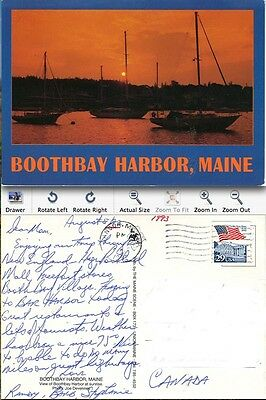 Boothbay Harbor Maine Post Card  1993