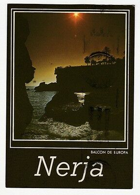 Nerja Spain Waterfront Sunset Post Card  used cancelled stamp