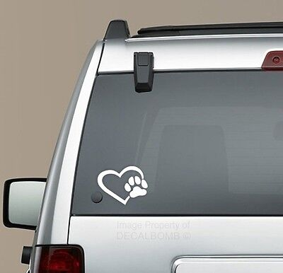 Dog Paw Print Heart Decal Sticker - Puppy Love Car Truck Breed Memory
