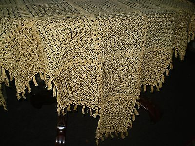 Beautiful-Vintage- Hand made-yellow- Cotton-Tablecloth