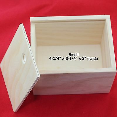 """3 NEW SLIDE TOP WOOD BOXES UNFINISHED PINE WOOD 4-1/4 x 3-1/4 x 3"""""""