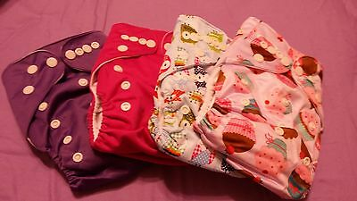 Lot of 8 one size pocket cloth diapers girl baby nappy designs and colors