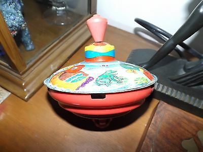 Vintage Tin Toy spinning top 50s