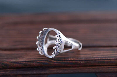 Thai Sterling Silver Ring Blank Openwork Ring Base (13x18mm Oval Blank) R395B