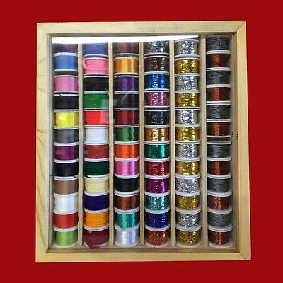 72 Fly Tying Spools of Floss, Thread, Tinsel, Wire, Wool in a Wooden Box