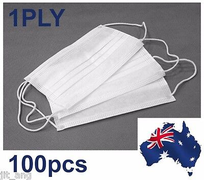 100pcs 1PLY Disposable Surgical Dental Ear loop Face Masks Respirator (OZ Stock)