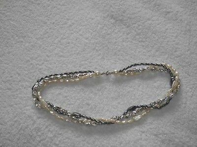 3 Strand Of Synthetic Grey Silver White Freshwater Seed Pearl Necklace