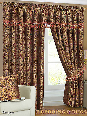 Fully Lined Readymade Pencil Pleat Heavy Chenille Georgeia Curtains Pair