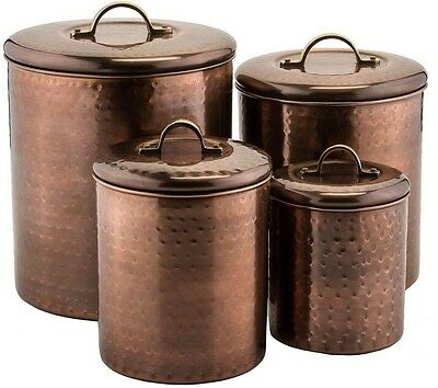 4-Piece Vintage Antique Copper Plated Stainless Steel Canister Food Storage Set