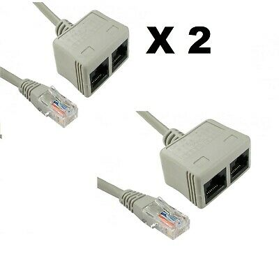 2 X  Cat5e RJ45 UTP Network Cable Lead ECONOMISER Ethernet DATA Splitter PAIRS