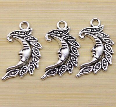 25/50/100pcs Retro style beautiful moon leaves alloy charm pendant 23x16 mm