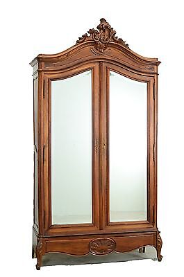 7701002 : Antique French Walnut Louis XV Style 2 Door Armoire Wardrobe