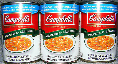 CAMPBELL'S HOMESTYLE VEGETABLE SOUP - CANADA - 3 Cans Making 60 oz Canadian Soup